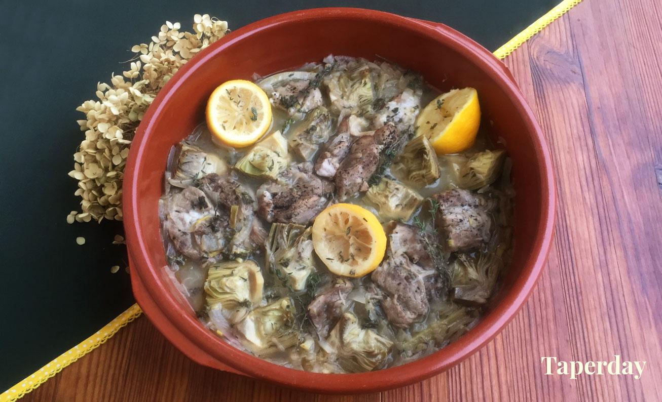 Estofado de cordero y alcachofas al limón