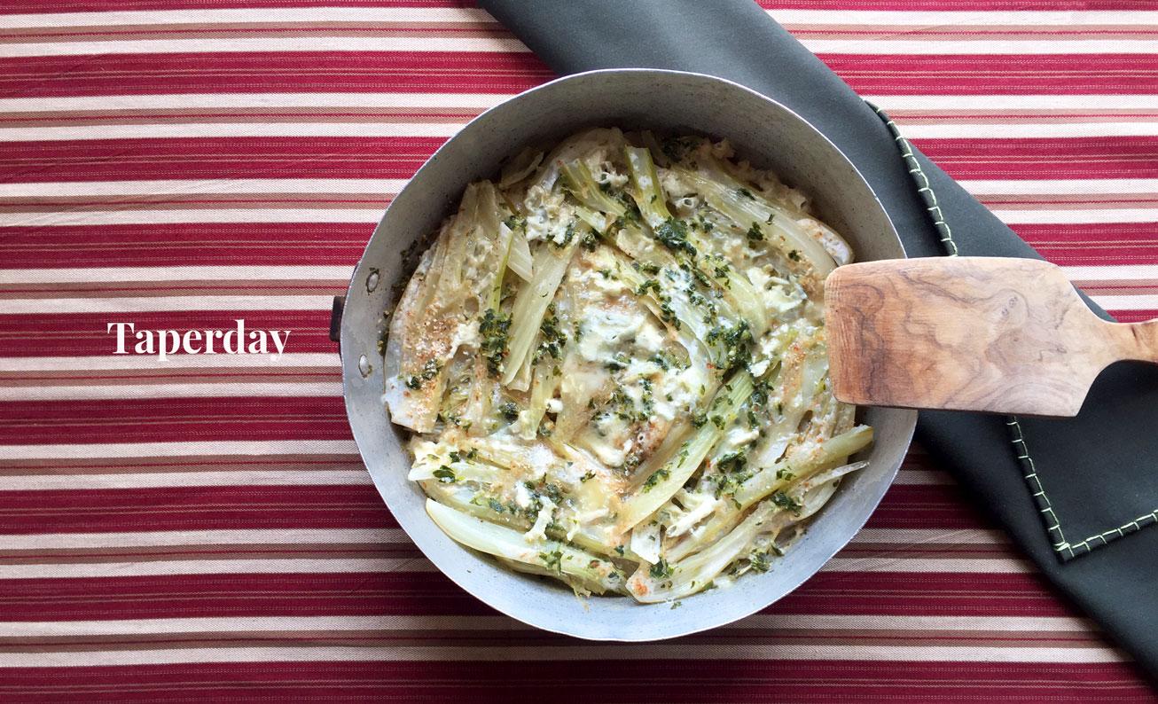 Hinojo estofado con gorgonzola