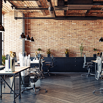 Brick wall of office space