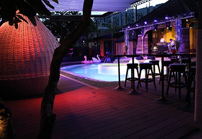 view of the pool area at The PIMP in Bangkok