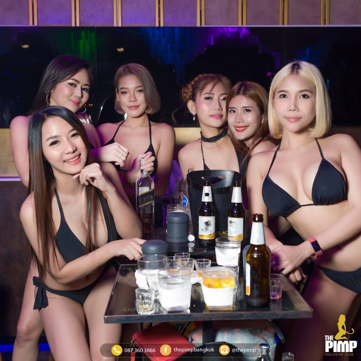 Thai models at a VIP table in the PIMP club
