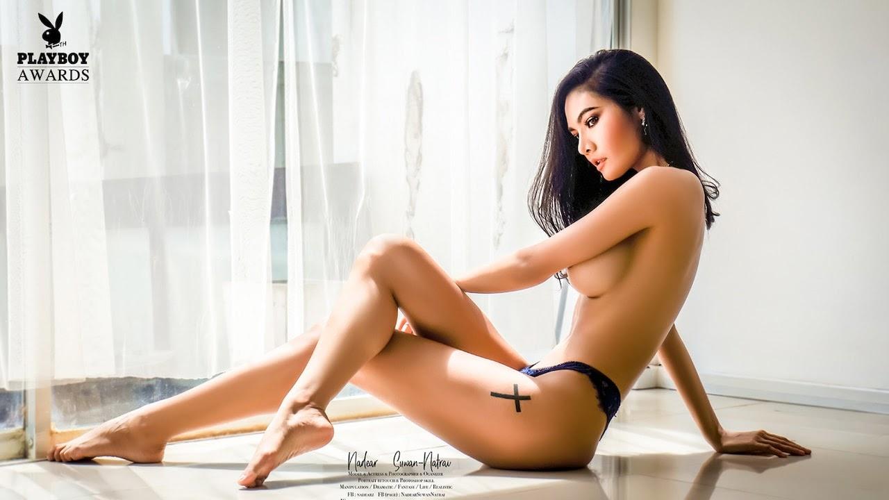 Thai model Promporn Kanarat posing naked for Playboy Awards in Thailand