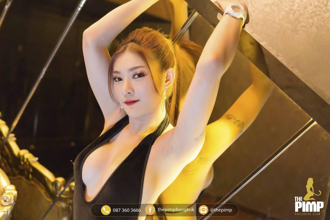 beautiful Thai girlfriend in an open black dress at The PIMP Bangkok
