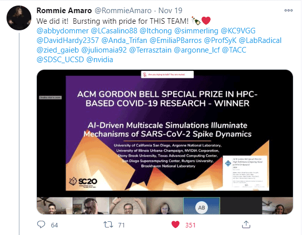 Rommie Amaro on Twitter - Winning the Gordon Bell Award