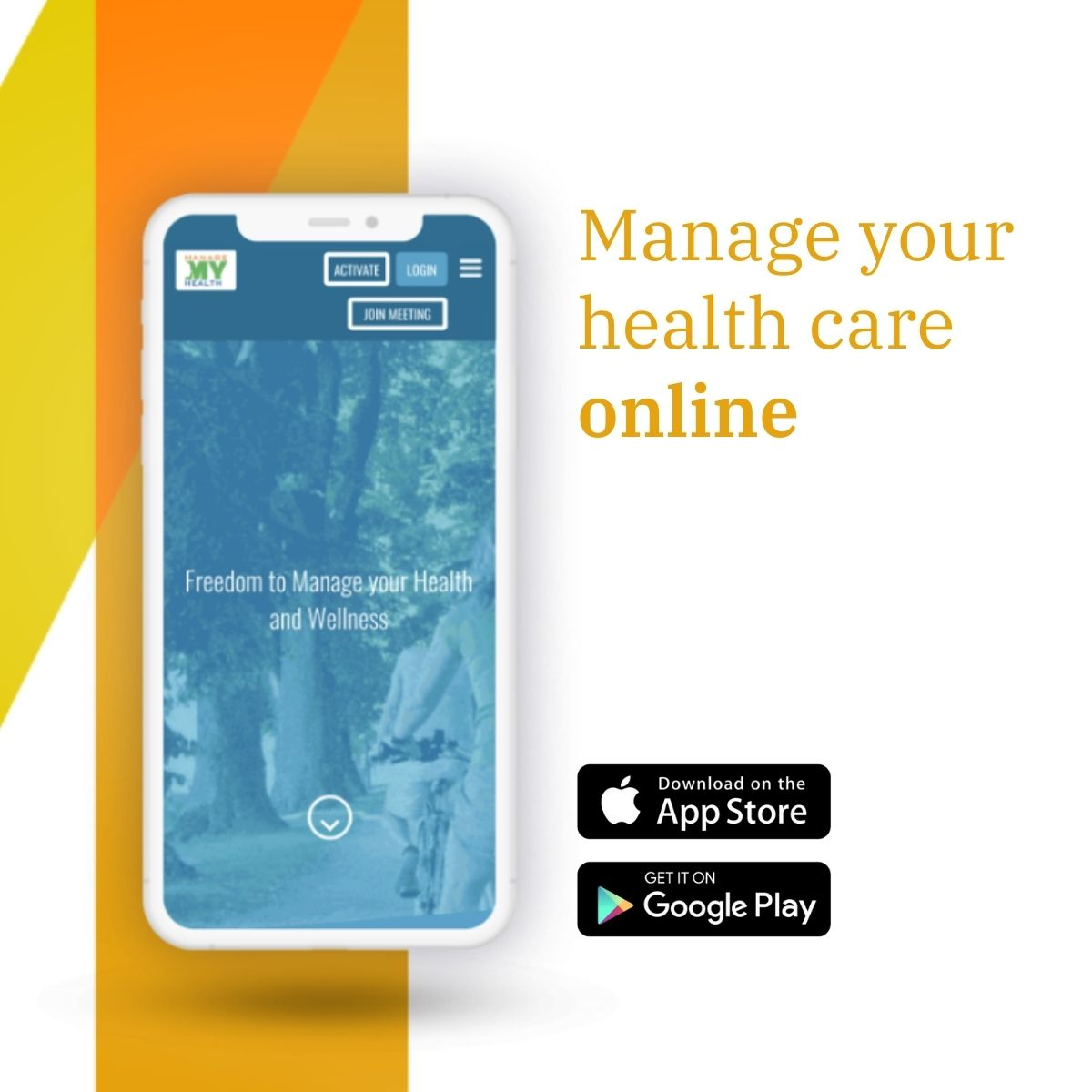 Mobile phone showing ManageMyHealth website