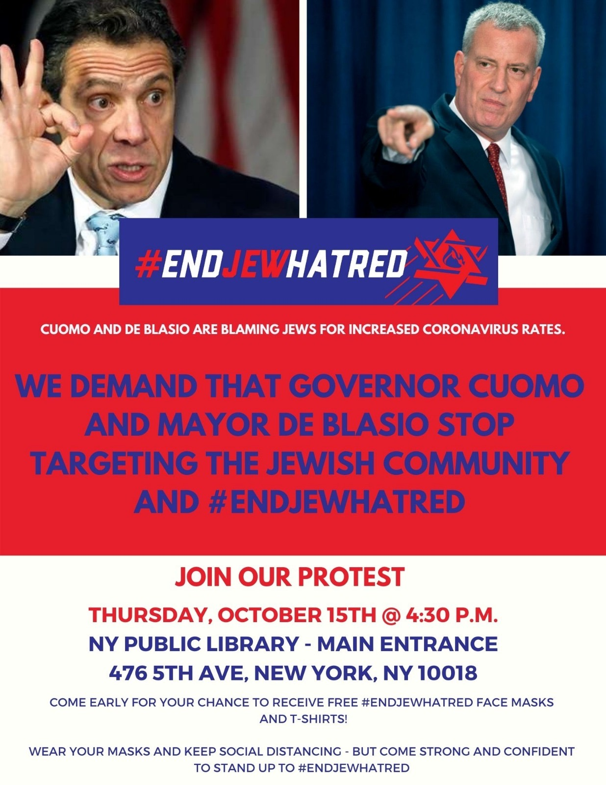 End Jew Hatred, Mayor de Blasio!