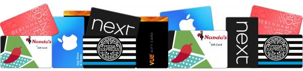 A collection of gift cards including Next, Apple and Nando's