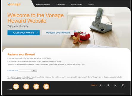 Vonage Rewards Page