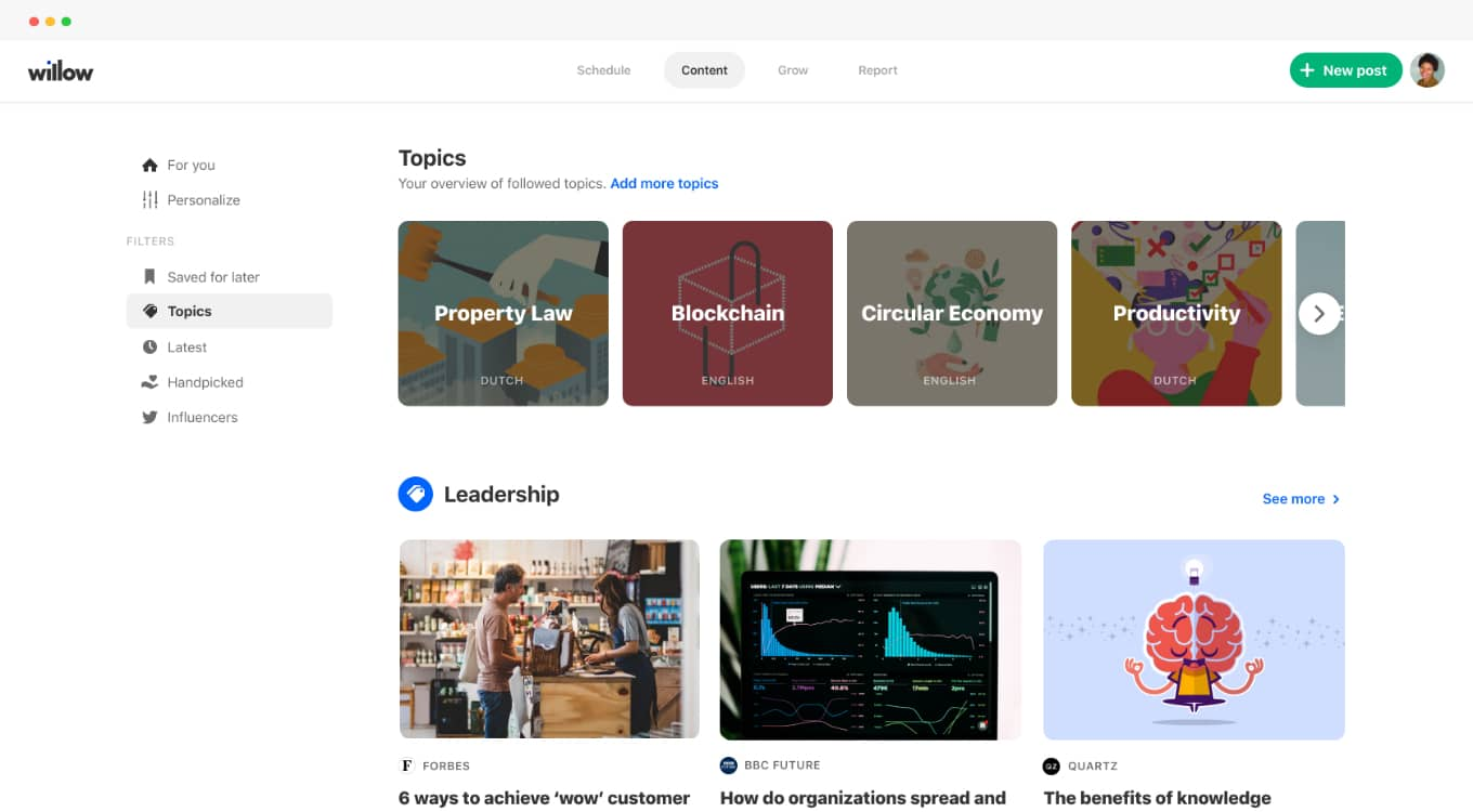 News aggregator for content curation social media
