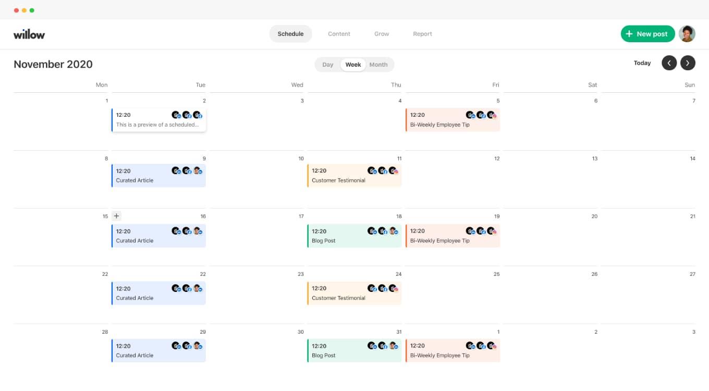 Social media calendar dashboard