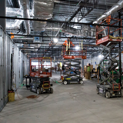 Inside the construction site at Amped Kitchens