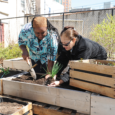Two residents of Community Access gardening outside the facility.