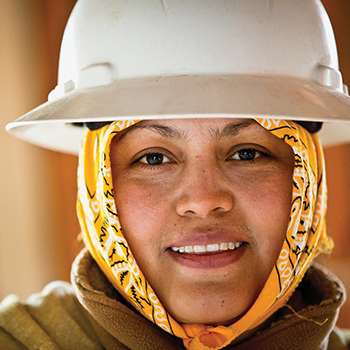 A construction worker on site at The Works CDC project in Memphis