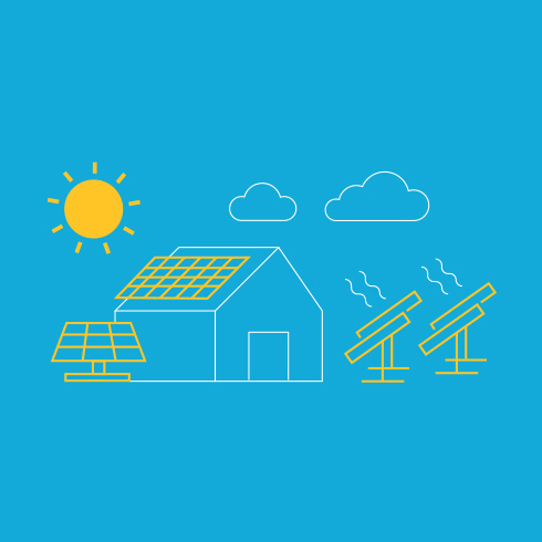 Illustration of a house and solar panels.