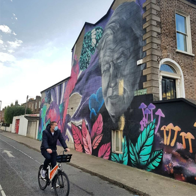 Bleeper user exploring Dublin by bike.