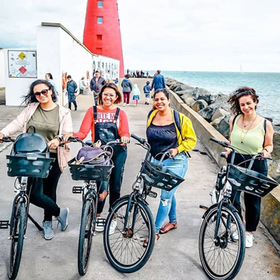 Group of Bleeper users cycling in Dublin.