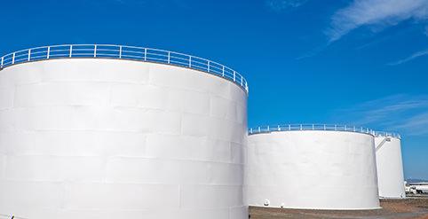 Large white tanks
