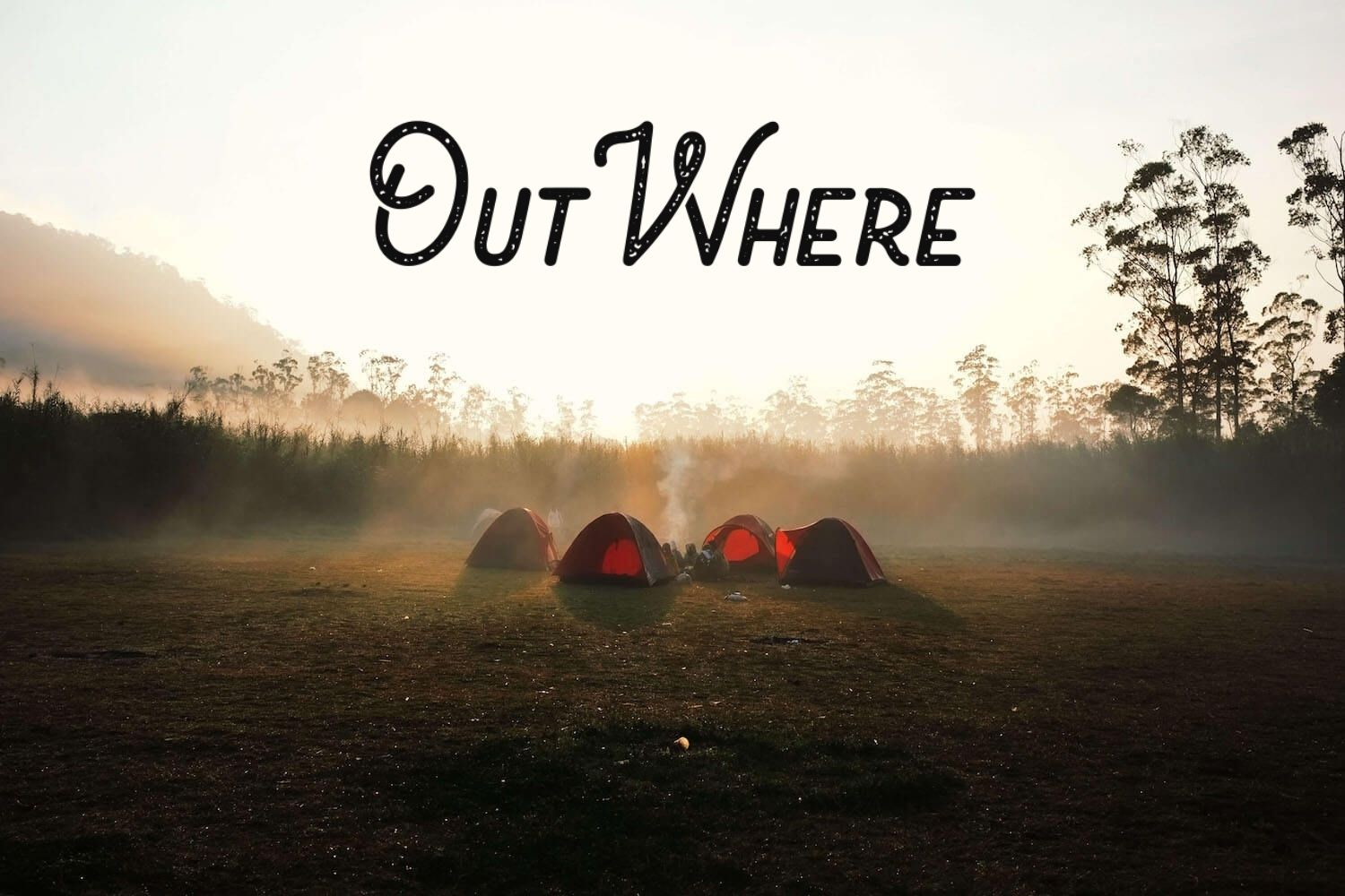 OutWhere project cover - people camping in a clearing