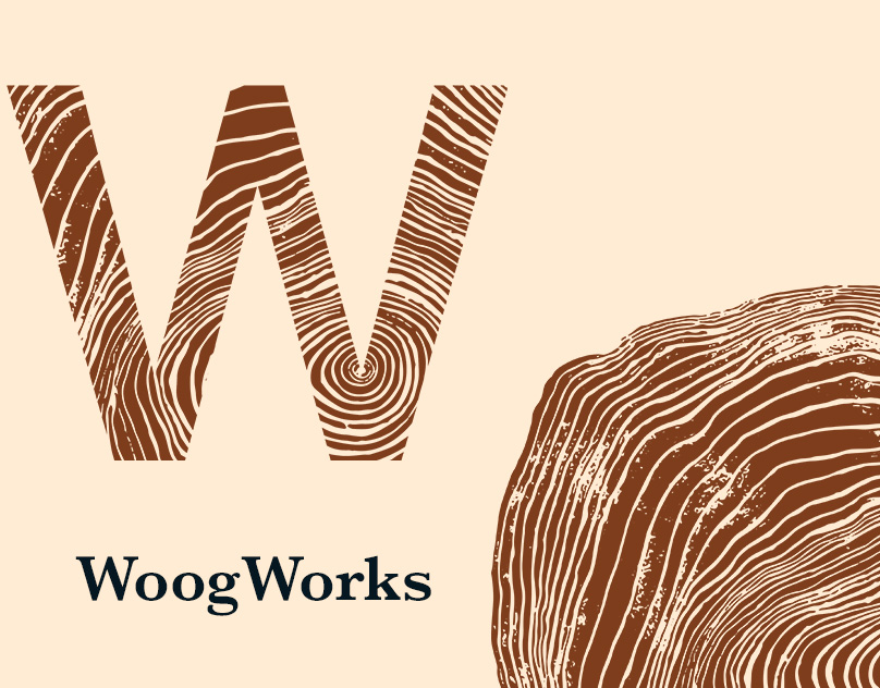 WoogWorks project cover with logo and tree ring pattern
