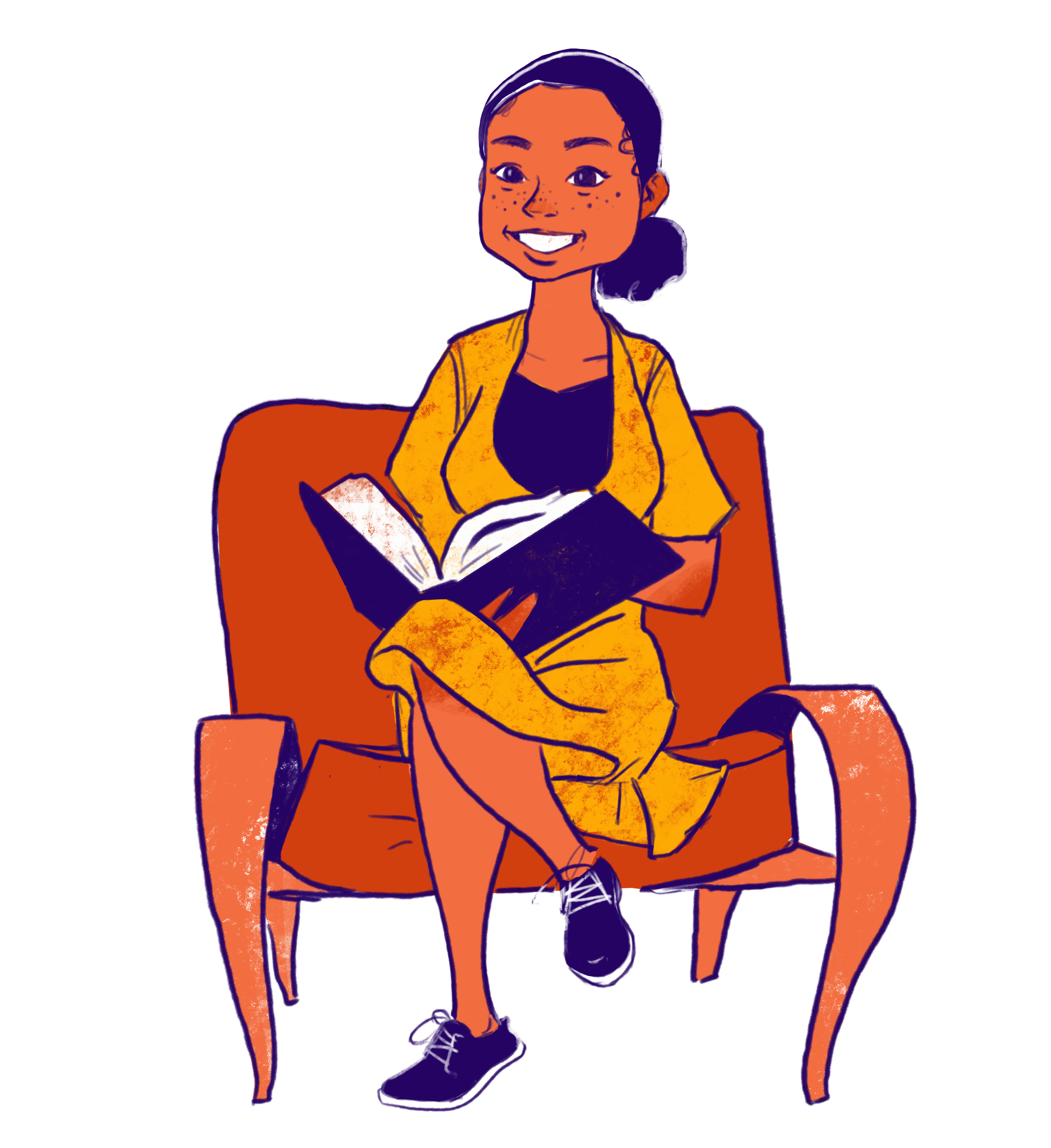 Sophia O'Neal sitting in a chair reading a book.