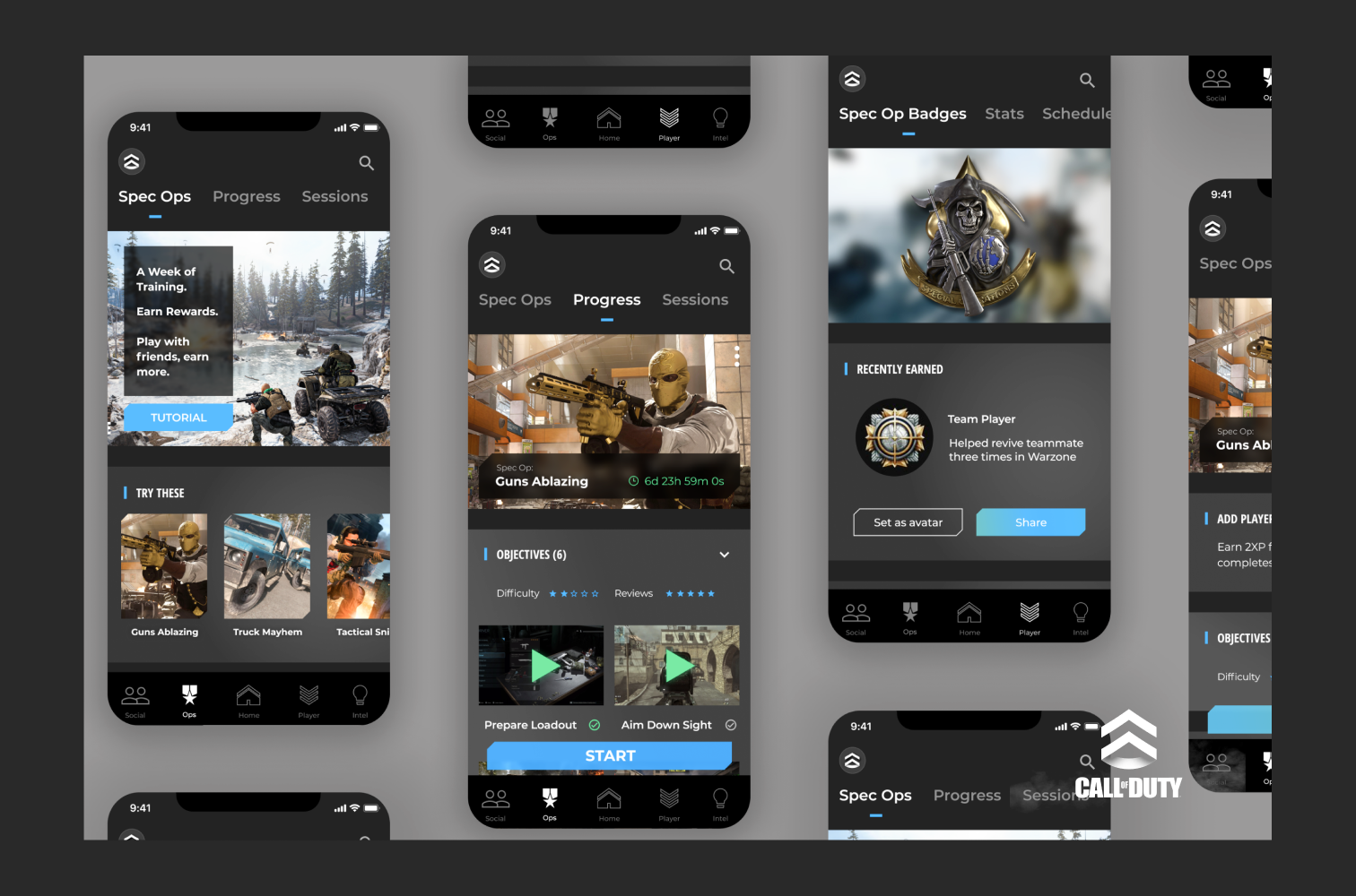 iPhones with screens of designs of the call of duty companion app.