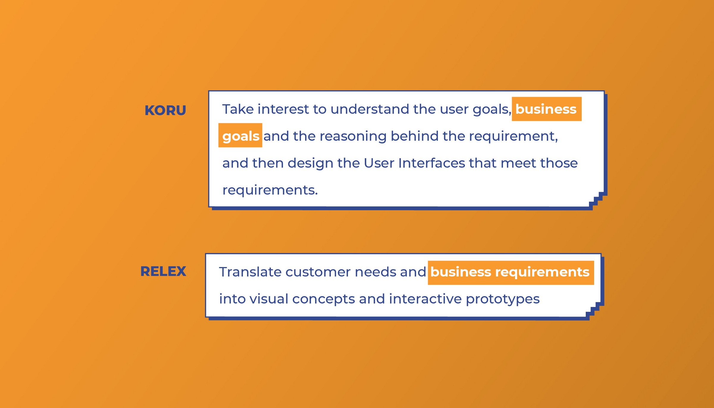 Koru and Relex look for Business skills from UI designers