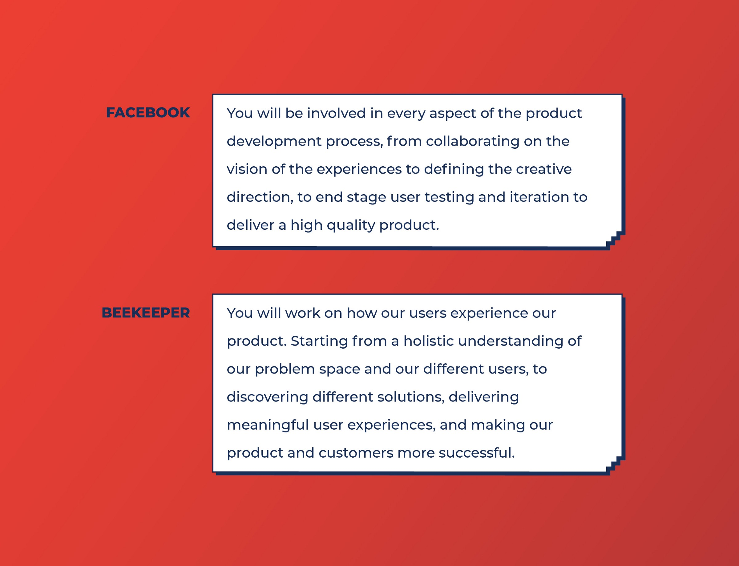 Facebook and Beekeeper requests for Product Designers