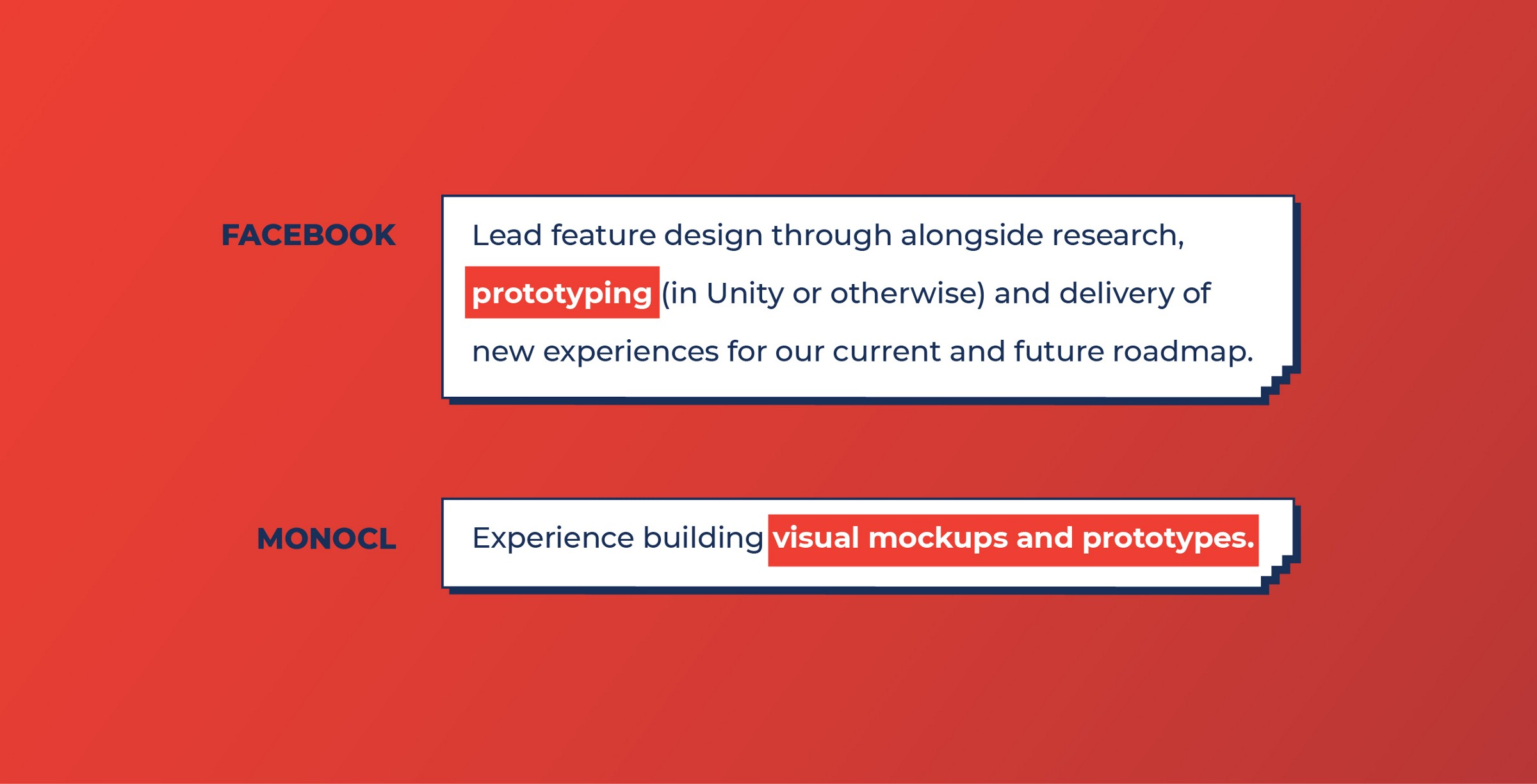 Facebook and Monocl look for Prototyping work from Product designers