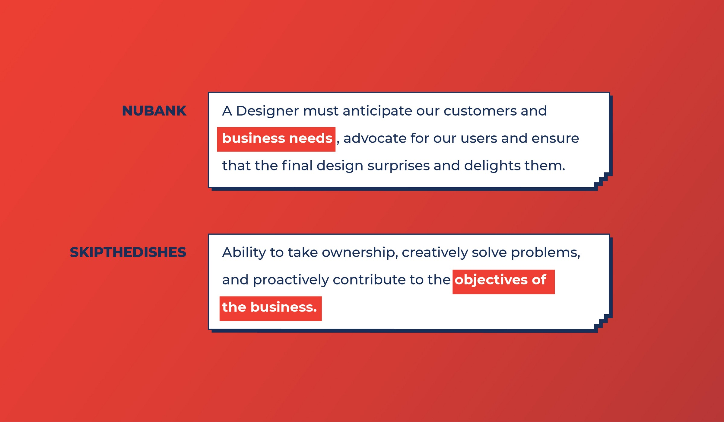 Nubank and Skipthedishes look for Business skills from Product designers