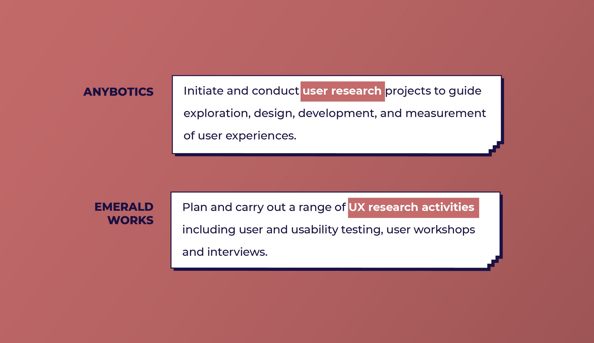Anybotics and Emerald works look for User Research work from UX designers