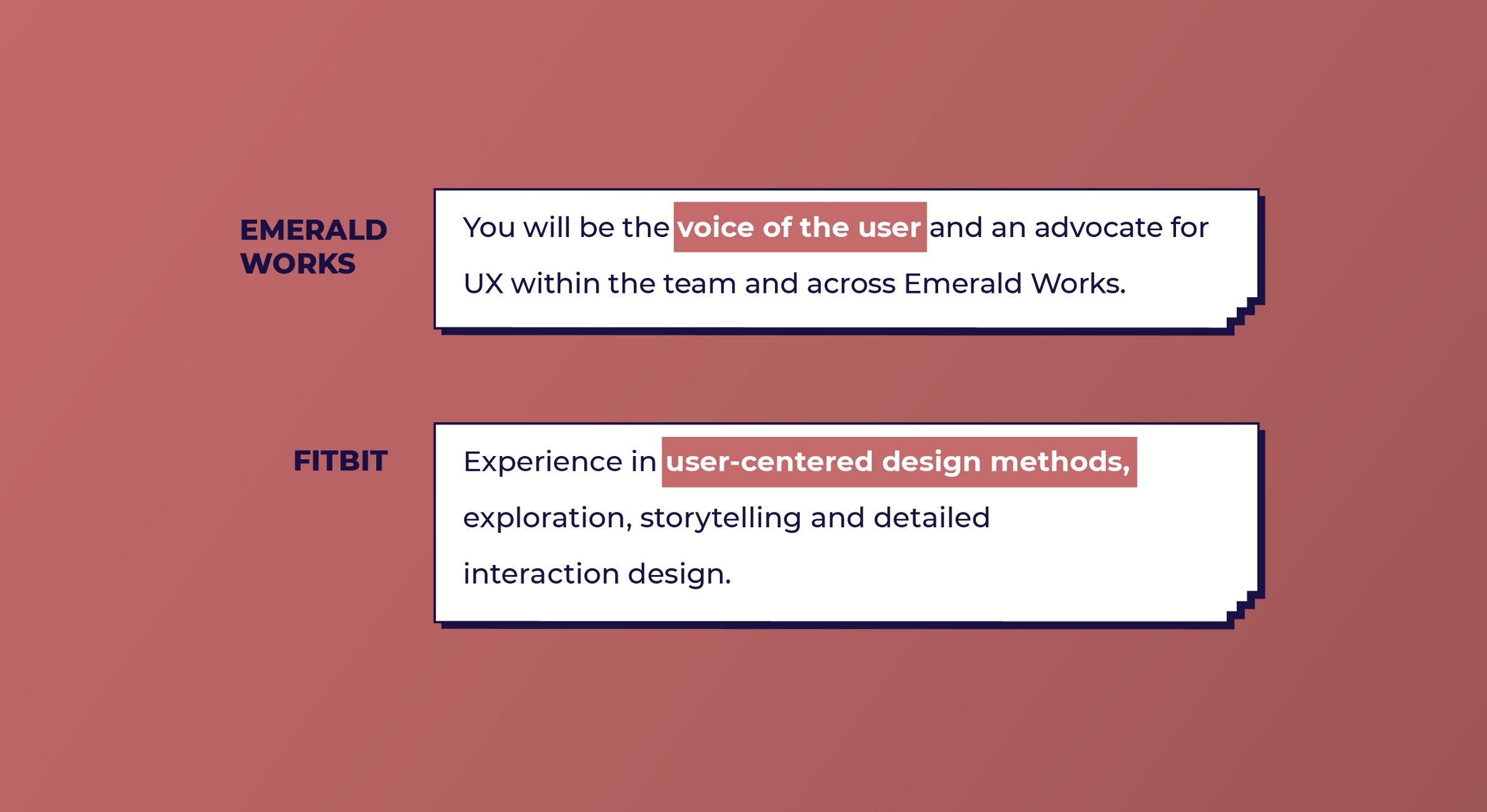 Emeral Works and Fitbit look for User-centered design skills from UX designers