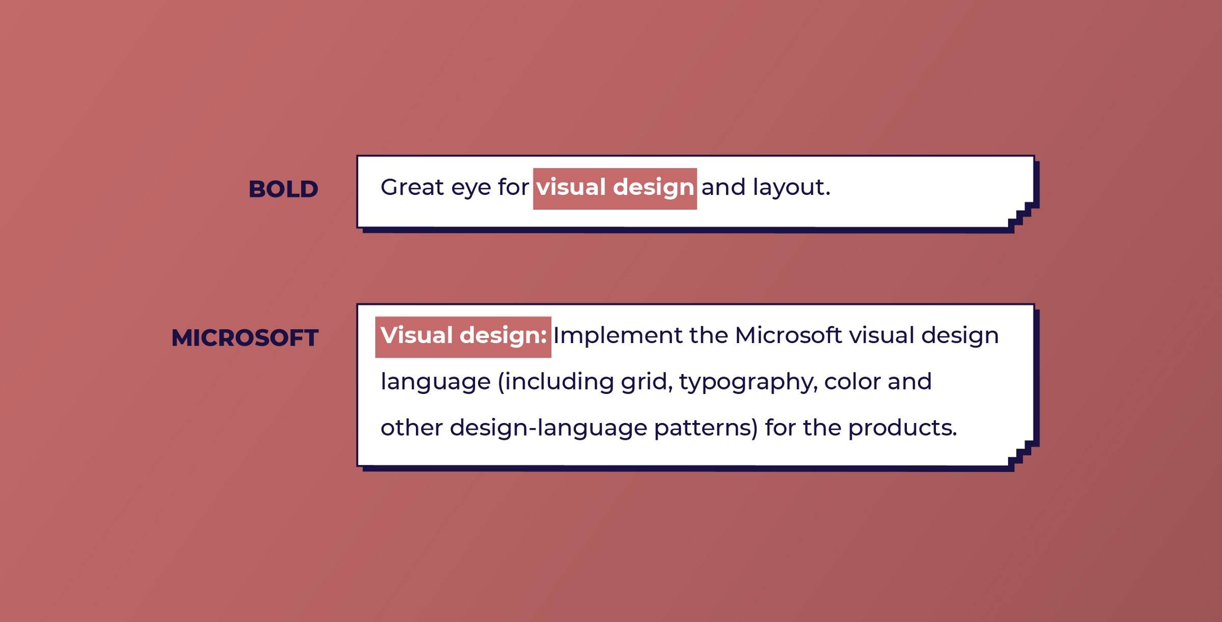 Bold and Microsoft look for Visual design skills from UX designers