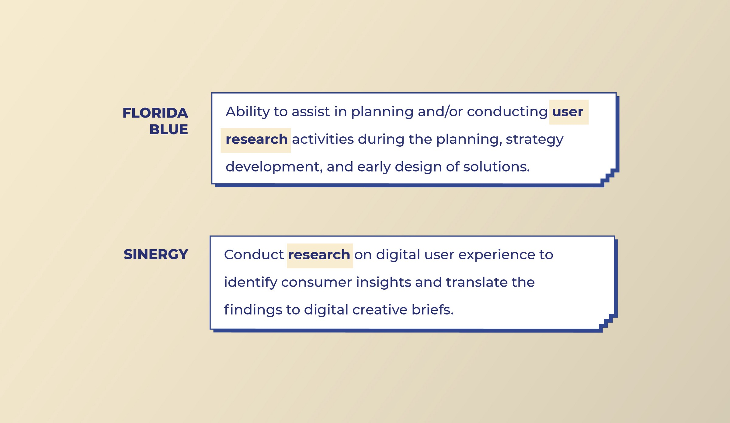 Florida Blue and Sinergy look for User Research work from Visual designers