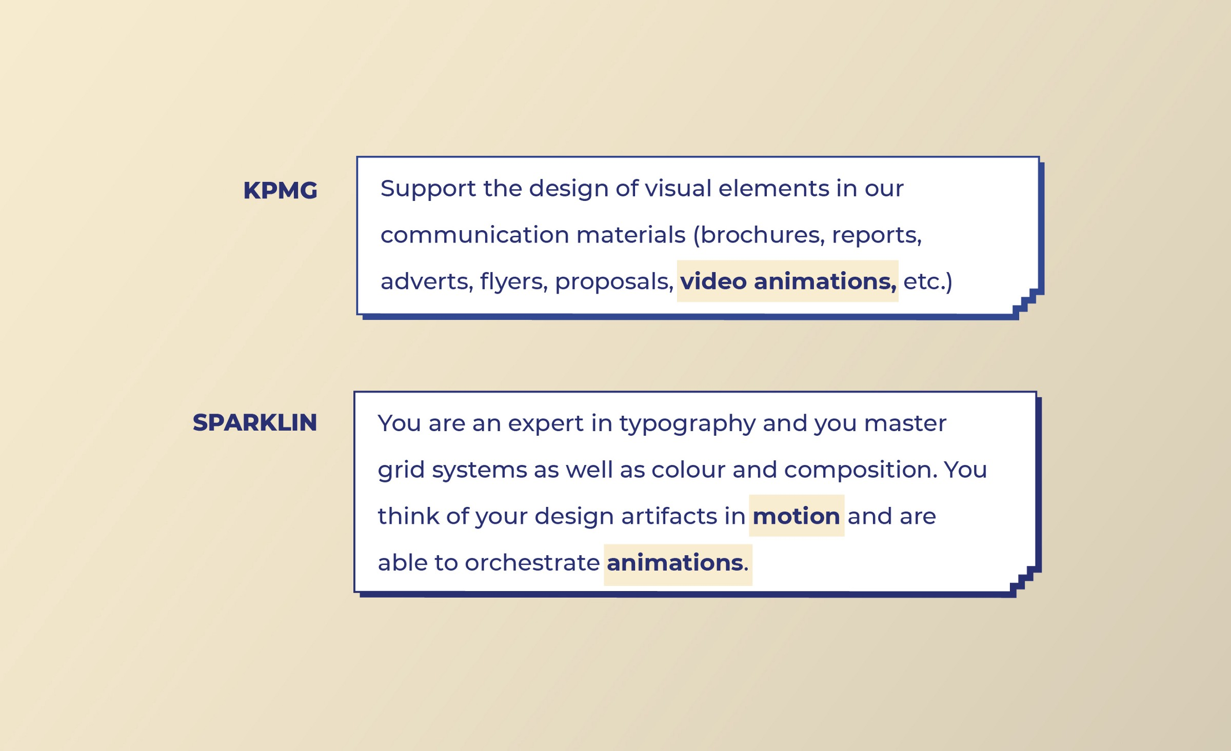 KPMG and Sparklin look for Motion Design work from Visual designers