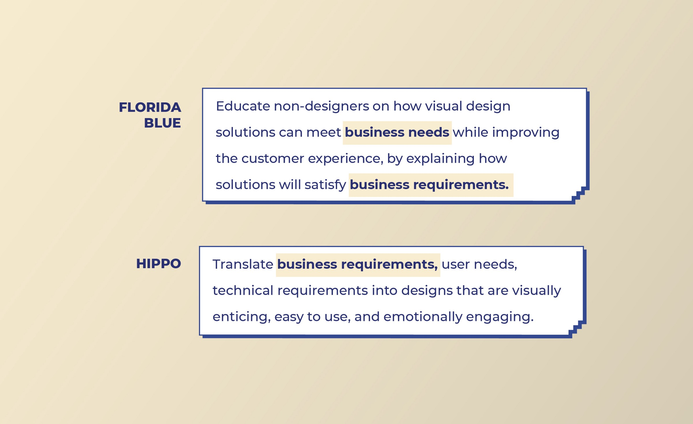Florida Blue and Hippo look for Business skills from Visual designers