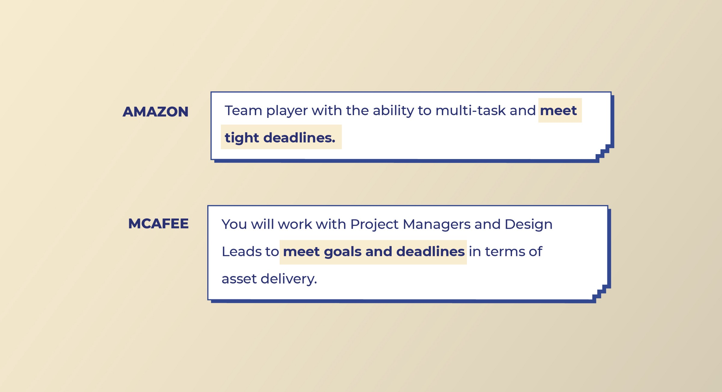 Amazon and McAfee  look for Project Management skills from Visual designers