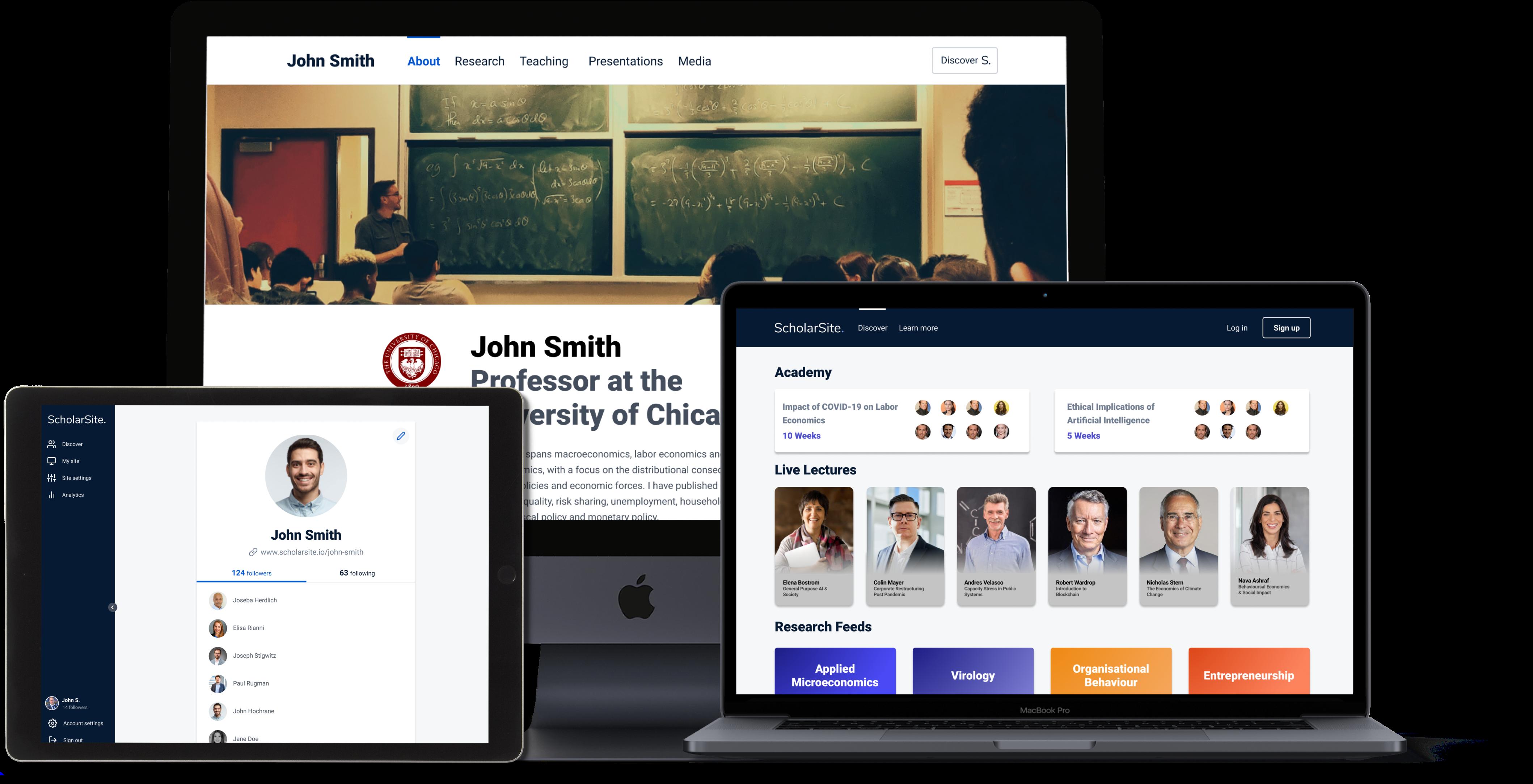 Mockups of ScholarSite Platform