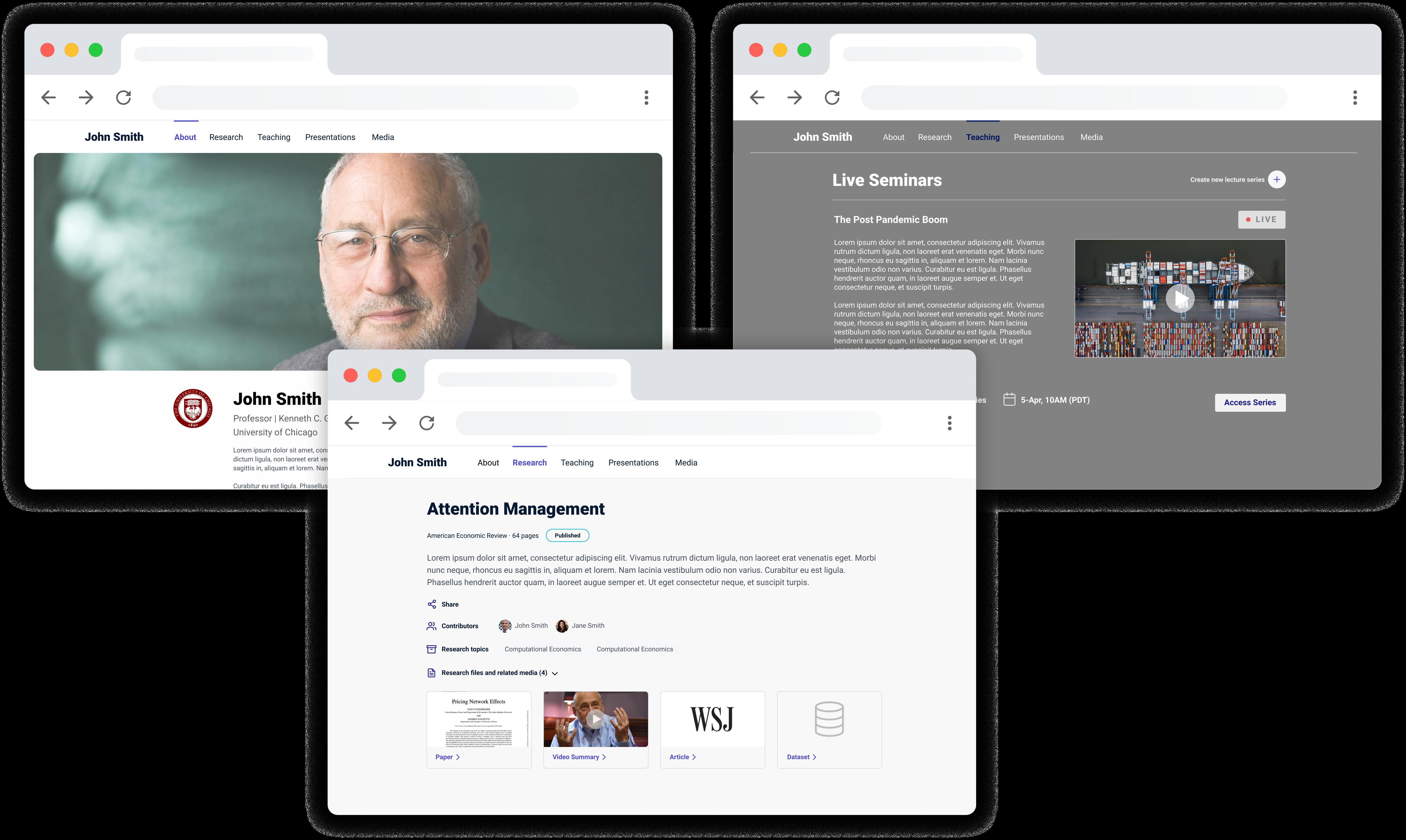 Mockups of ScholarSite's virtual shopfront solution
