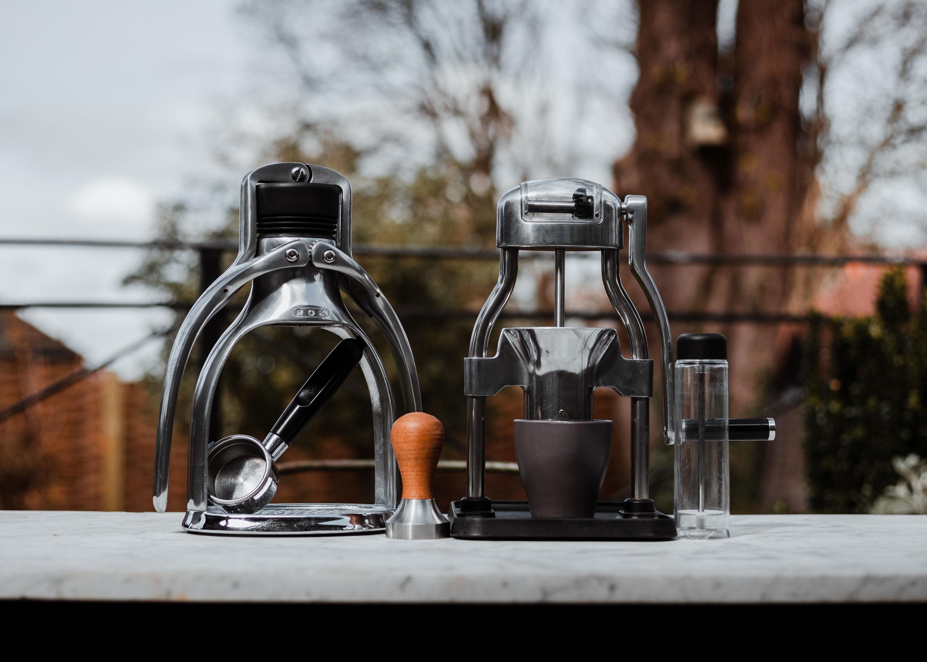 ROK Espresso & Grinder Bundle on a marble table