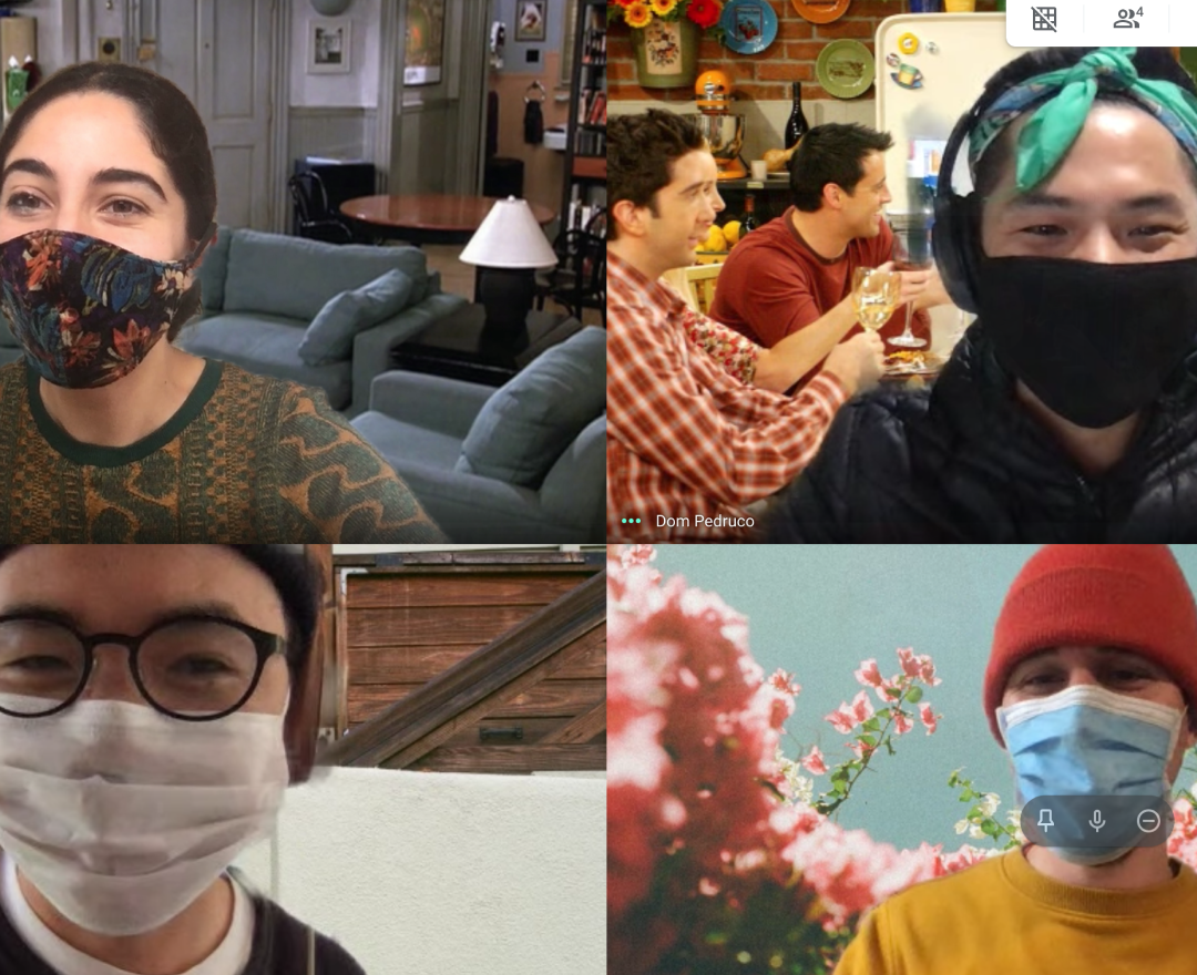 Designers wearing masks on video conference