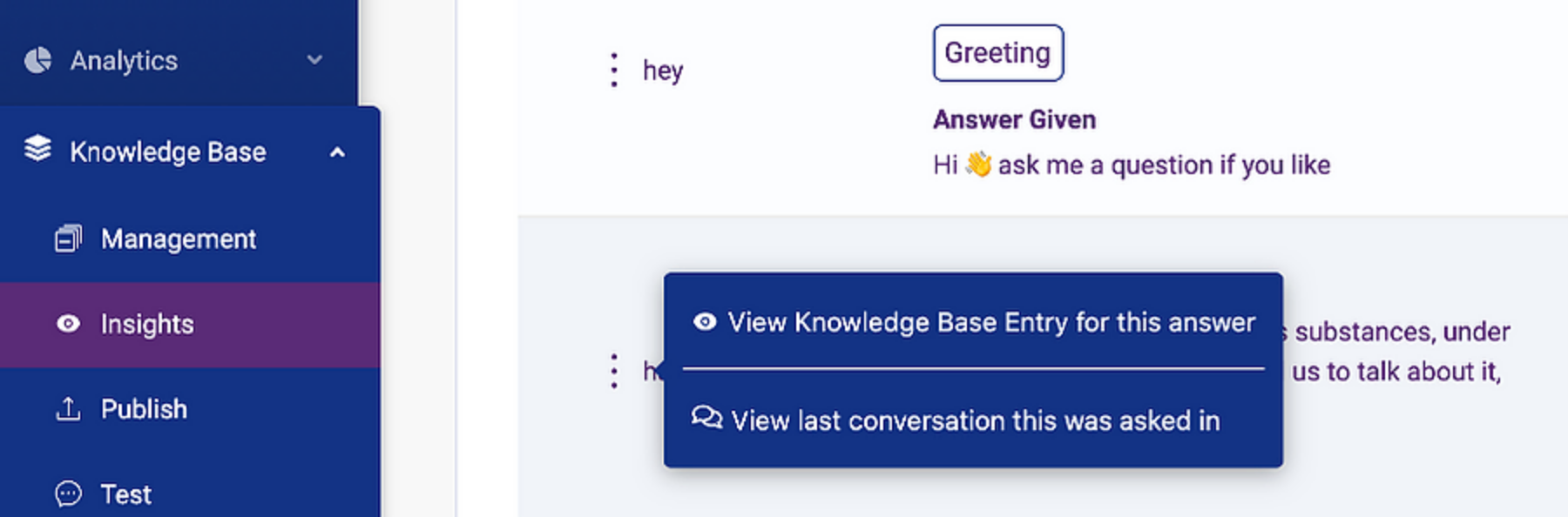 KB answer for conversation history in FAQbot