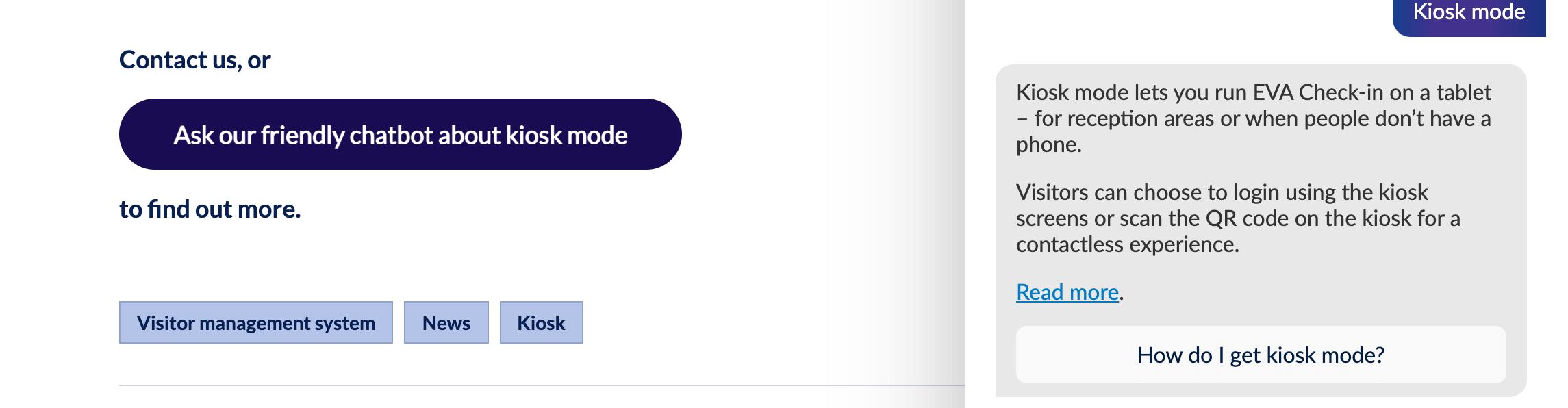 Chatbot kiosk mode