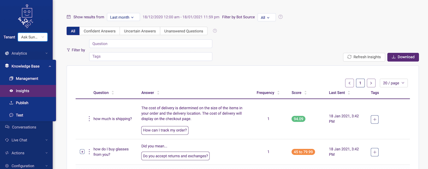 knowledge base insights in FAQ Bot