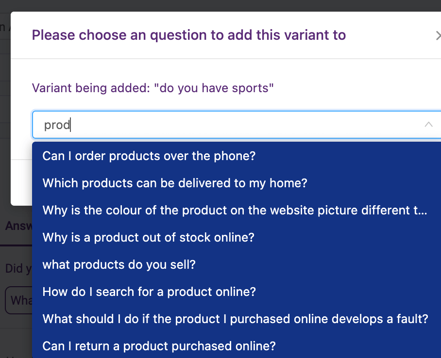 add new question variant - screenshot