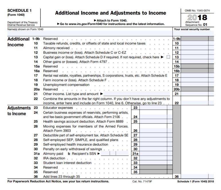 Form 1040 Schedule 1