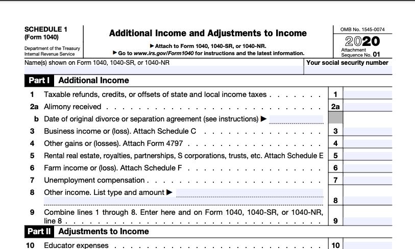Schedule 1 Form 1040 2020