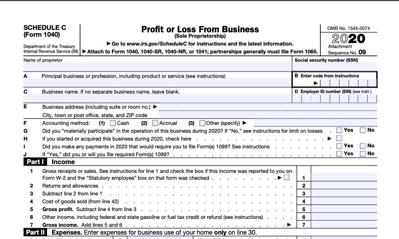 2020 Form 1040 Schedule C