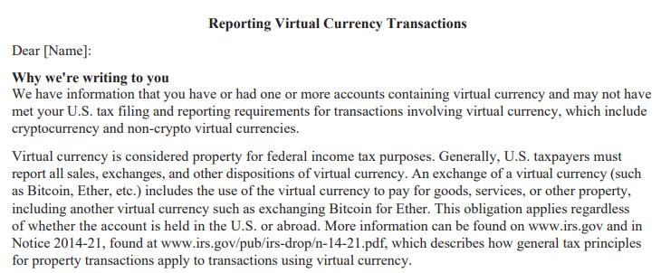 Crypto Investors IRS
