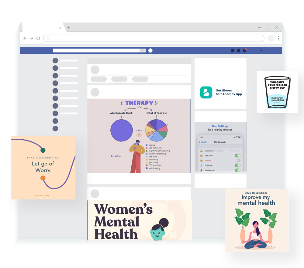 facebook screen with multiple advertisings