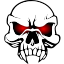Clipart image of a vampire skull with red eyes, used as a toggle indicator.
